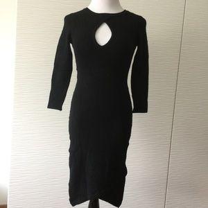 Bebe Keyhole Long Sleeve Bodycon Midi Dress